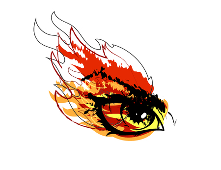 Gaze terrible on a white background flame in the side of the eye