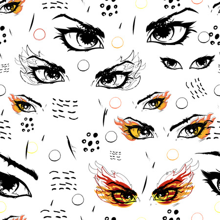 Flame and heat in the eyes. Mystical Vector drawing of various types of eyes. Background seamless transparent. Ilustrace