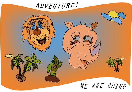Travel kids cartoon with a lion, rhino and palm trees with the sun