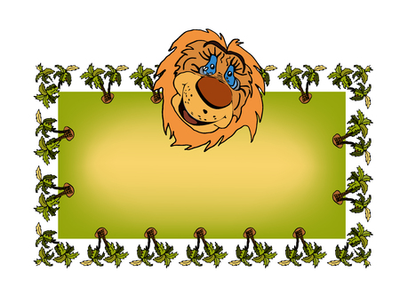 Baby frame with a lion cartoon head and space for text. Around the rectangle drawn palm trees. Ilustrace