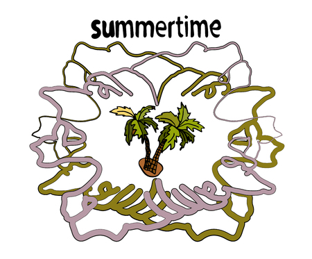 Summer motive frame, with a palm tree in the middle, the text summer time is handwritten in vector, on a white background.