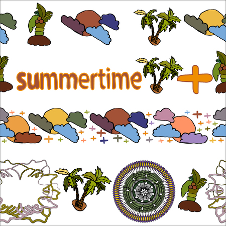 Summer and summertime motif. Endless seamless vector brushes four pieces.