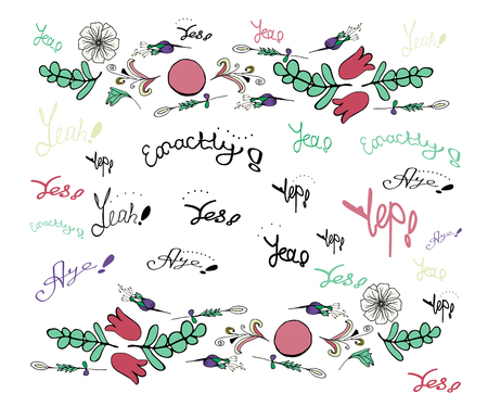 Hand lettering words with an exclamation mark of different colors and floral patterns.