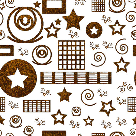 Seamless pattern with geometric shapes in brown colors