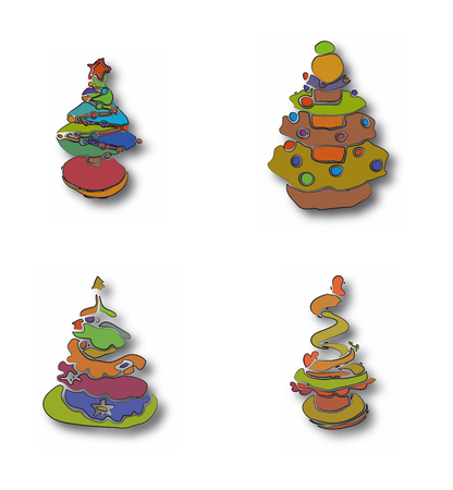 Decorative alike Christmas trees for graphic design and print.
