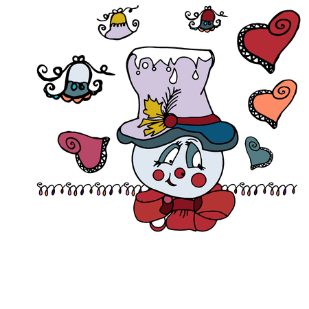 Patterned hearts around a big snowman head in a hat with a bow around his neck.