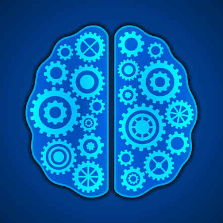 brain works: Thinking, creativity concept. Brains with gears inside it.