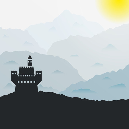 non urban: Ancient castle silhouette in the mountains.