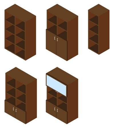 cupboards: Set of five book cupboards. illustration. Set for isometric interior.