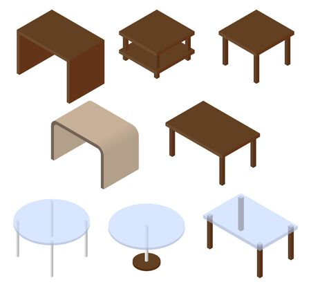 Set of eight cupboards. illustration. Set for isometric interior.