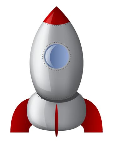 astrophysics: cartoon steel rocket on white background isolated