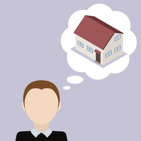 Man rêve de maison. Concept du désir d'obtenir sa propre maison. Vector illustration.