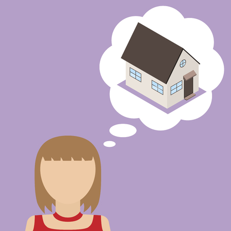 obtain: Woman dream about house. Concept of desire to obtain its own home. Vector illustration. Illustration