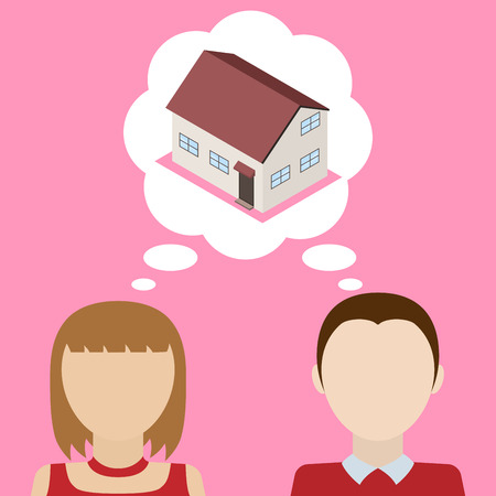 obtain: Couple dreams about house. Concept of desire to obtain its own home. Vector illustration.
