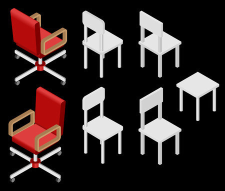 wooden stool: Set of four chairs. Vector illustration. Set for isometric interior.