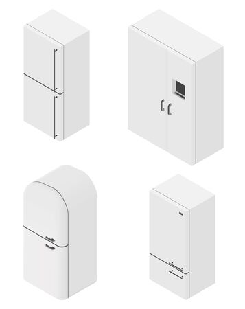 cold storage: Set of four isometric fridges. Light color. Vector illustration