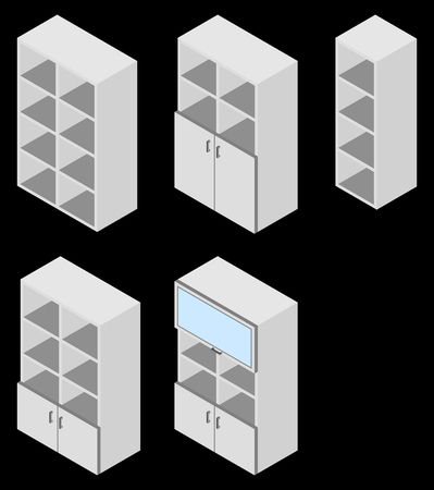 cupboards: Set of five book cupboards. Vector illustration. Set for isometric interior.