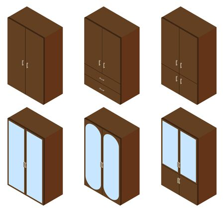 cupboards: Set of six cupboards. Vector illustration. Set for isometric interior.
