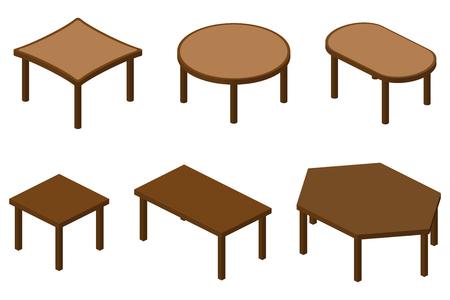 Un insieme di sei isometriche tavoli di legno marrone.