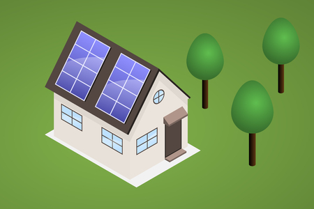 producing: Isometric house on lawn with trees. House has solar panels on the roof, capable of producing electricity.