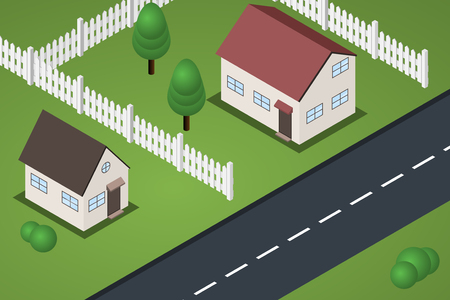 suburb: Flat isometric suburb houses with lawns and fences near road.