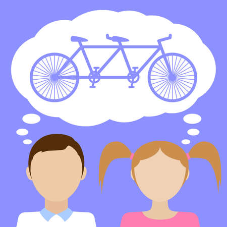 Tandem: Couple dreams about tandem bicycle. Flat vector illustration.
