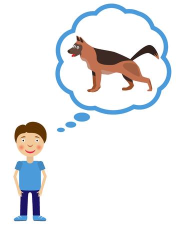 wish desire: Boy dream about having dog. Dog inside think cloud. Vector illustration. Illustration