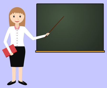 explaining: Female teacher at the chalkboard. Teacher leads the lesson. Vector illustration.