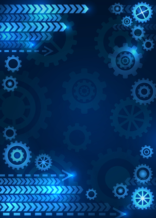 Abstract technical background. Future, gear, wheel, metal. Vector illustration.