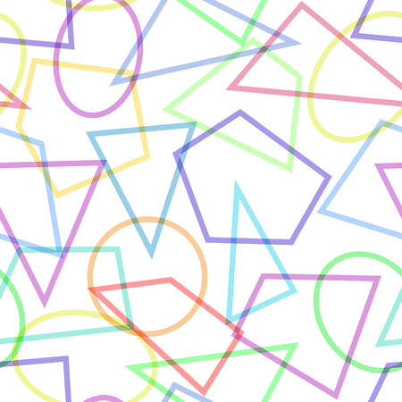 primitivism: Simple seamless pattern with circles, triangles and polygons. Usable as web background or wallpaper. Vector illustration.