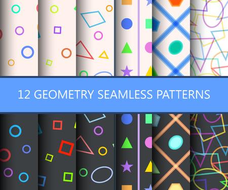 primitivism: Set of twelwe geometry seamless patterns. Usable for web backgrounds and wallpapers. Vector illustration. Illustration