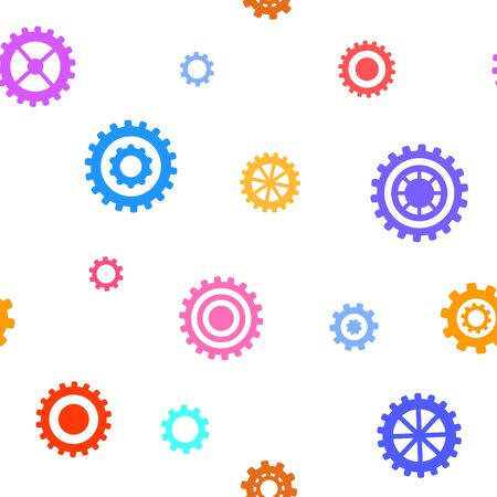technical background: Seamless pattern with flat gears. Simple technical background. Vector illustration. Illustration