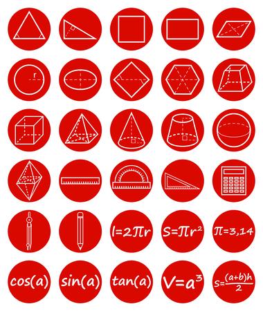 Set of geometry icons. Science, basic education. Flat style. Vector illustration. Imagens - 56768398