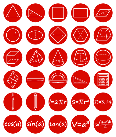 tangent: Set of geometry icons. Science, basic education. Flat style. Vector illustration.