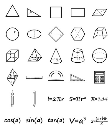 Set of geometry icons. Science, basic education. Flat style. Vector illustration. Imagens - 56768397