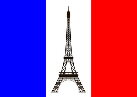 historical romance: Eiffel tower on background of France flag. Vector illustration.