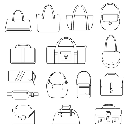 reticule: Bag, purse, handbag and suitcase simple icons set. Accessory symbols set. Vector illustration. Illustration