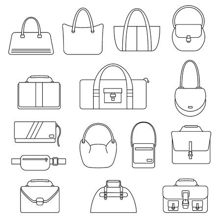 valise: Bag, purse, handbag and suitcase simple icons set. Accessory symbols set. Vector illustration. Illustration