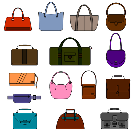 reticule: Bag, purse, handbag and suitcase simple icons set. Different colors. Isolated on white background. Vector illustration.
