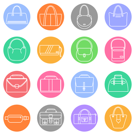reticule: Bag, purse, handbag and suitcase simple colorful icons set. Accessory symbols set. Vector illustration.