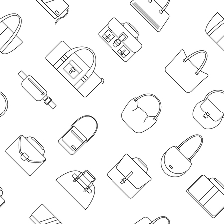 reticule: Bag, purse, handbag and suitcase simple icons seamless pattern. Vector illustration.