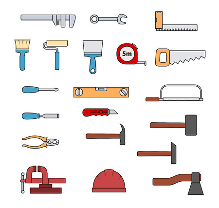 carpenter vise: Set of flat repair tool icons. Home repair signs. Worker tools. Vector illustration.