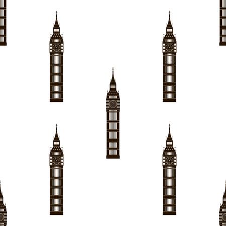 london   england: Big ben London, England, United Kingdom. Seamless background. Big ben icon repeating. Seamless pattern. Illustration