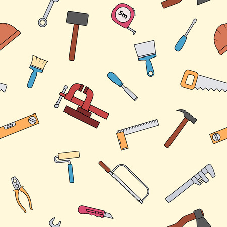 carpenter vise: Seamless pattern of repair tool icons. Home repair signs. Worker tools. Isolated on white background. Vector illustration. Illustration