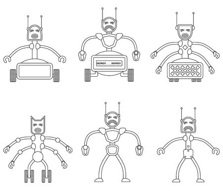 vicious: Set of angry evil robots. Future vicious mechanical life form. Vector illustration.
