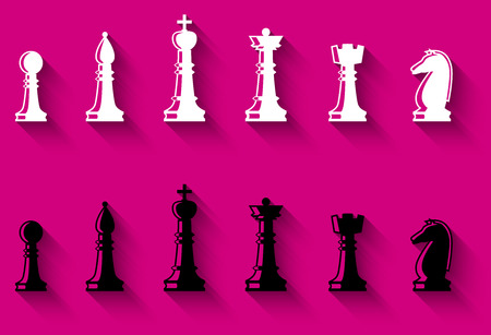 chessmen: Set of chess figures. Chess elements complete collection. Black and white chess figures. Flat style chess pieces isolated. Illustration