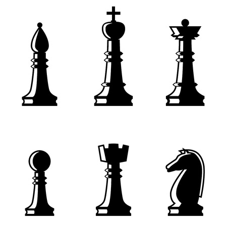 Set of chess figures. Chess elements collection. Flat style chess figures isolated.