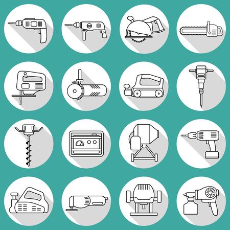 Set of flat repair tool icons. Home repair tools pictogram. Worker tools. Electric tools. Tools sign.