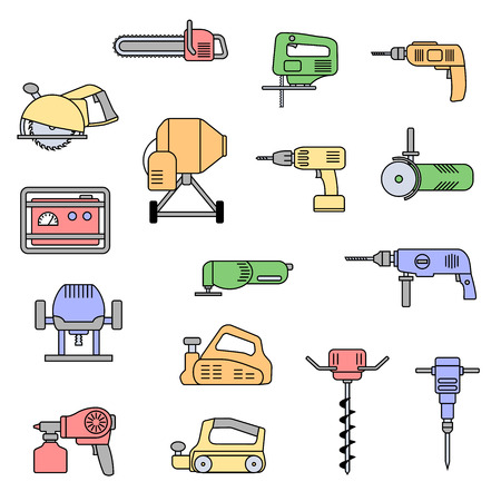 steel mill: Set of flat colorful repair tool icons. Home repair tools pictogram. Worker tools. Electric tools. Tools sign.