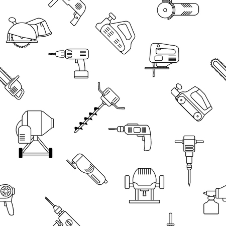 auger: Seamless pattern of repair tool icons. Home repair signs. Worker tools. Isolated on white background. Tools background.
